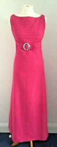 True Vintage Elmoor 60s Hot Pink Cotton Maxi Evening/Cocktail Dress Size 12