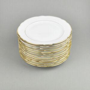 13 Kuchenteller - kleine Teller - weiss - Goldrand - Koenigszelt - Zeh Scherzer