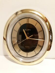 ELGIN Oval WALL Quartz CLOCK - Keeps Accurate Time - VINTAGE