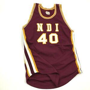VINTAGE NDI Basketball Jersey Size Large L Fitted Yellow Shirt Tank Sewn USA 70s