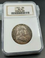 1957 P Franklin Silver Half Dollar Coin MS66 NGC Old Brown Label Neat Toning