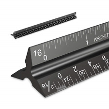Set of 2 PREMIUM Aluminum Architectural Rulers 1 Imperial 1 Engineer Scaled Luxe