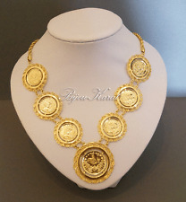 Tugra Coins Chain Ceyrek 24 k gold plated TüM Altin Kaplama Taki Kolye Dügün