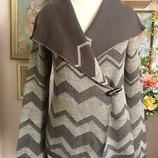 Goddis Brown Chevron Open Front Cardigan Sweater Long Sleeves S/M