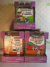 3 Hallmark Maxine Christmas Ornaments Painted Metal Signs NEW  3.25x3.75