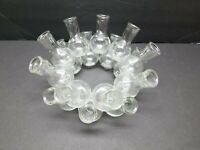 "Vintage Folk Art Glass Flower Bud Vase Centerpiece Arrangement Circle 9"" Clear"