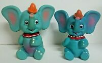 2 - VINTAGE Walt Disney DUMBO Elephant Toys Made in JAPAN - 1 Working  Squeeze