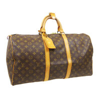 LOUIS VUITTON KEEPALL 50 TRAVEL HAND BAG 851SD PURSE MONOGRAM M41426 AUTH A53530