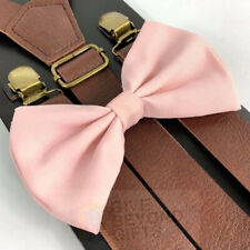Suspender and Bow Tie Adults Wedding Pink Brown Leather Formal Wear Accessories