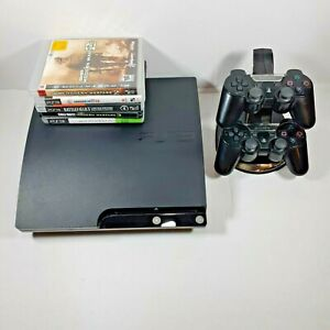 Sony PlayStation 3 PS3 Slim 250GB Bundle 2 Controllers 7 Games CECH-2001B Charge
