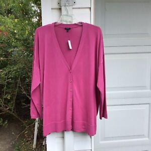 NWT Talbots Pretty Raspberry Pink V-Neck Cardigan Sweater 3X 22W 24W