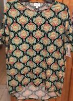 LuLaRoe Irma Top Shirt Sz XXS Bright Multi Color Print High Low