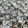 100 x 6mm Silver Alphabet Beads, Mixed Letters, Pony Beads, Dummy Clips
