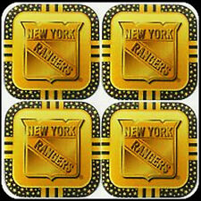 New York Rangers 4-Pack PREMIUM METAL Gold Beverage Coaster Set Coasters Hockey