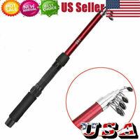 Portable Carbon Fiber Ultralight Travel Telescopic Fishing Rod Spinning Pole 1.8