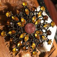 Vintage Unsigned Amber & Citrine Flower Pendant Brooch/Pendant Designer Crafted