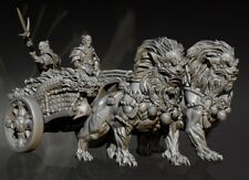 125mm Resin Figure Model Kit Lion beauty soldier Chariot unpainted unassembled