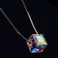 925 Silver Mystic Rainbow Topaz Necklace Fashion Cube Pendant Chain Choker Gift