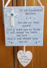 Personalised God Son Christening Godmother Godfather Baptism Gift Plaque Sign