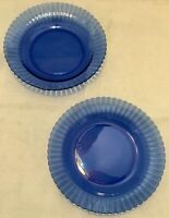 """Vintage Set of 2 Colorex Cobalt Blue Ribbed Large Dish Bowls 8.5"""" Made in Brazil"""