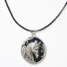 Western Equestrian Antique Silver/Black Enamel Horse Head Necklace