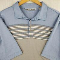 TRAVIS MATHEW Size XL Golf Polo Shirt Mens Blue Gray Striped Pima Cotton/Poly