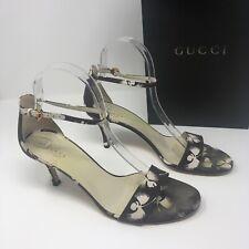 0cd0d437bb2 Gucci Women s Brown Floral Flower Print Pattern Peep Toe Heels Pumps Shoes  7.5