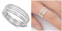 Sterling Silver 925 PRETTY MULTI BAND IN ONE DESIGN SILVER RING 7MM SIZES 5-10