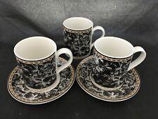 Set of 2 Royal Doulton Studio Provence Noir Mugs Tea Cups / Saucer + Extra Mug
