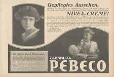 Y4867 Zahnpasta PEBECO - NIVEA Creme - Pubblicità d'epoca - 1927 Old advertising