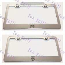 2X RAM logo Stainless Steel License Plate Frame Rust Free W/ Caps