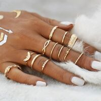 12 Pcs/Set Women Boho Crystal Midi Finger Band Bohemia Knuckle Rings Party Gift