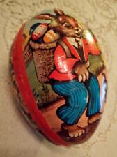Vintage Easter Egg Candy Container German Rabbit Top hat Chicks Birds W. Germany