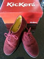 *Kickers* sz 12 US 30 euro ruby red suede oxford girls shoes *Made in Portugal*