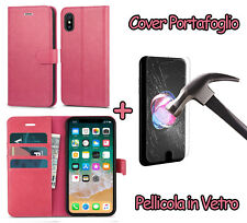 CUSTODIA FLIP MAGNETICA IN PELLE FANCY per IPHONE 8 / IPHONE X + PELLICOLA VETRO