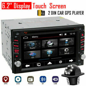 "6.2"" Touch Double 2DIN Car DVD CD Radio Stereo Player GPS Navigation BT + Camera"
