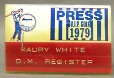 1979 AMANA V.I.P. PRESS PASS Golf Tournament IOWA badge pinback button golfing ^