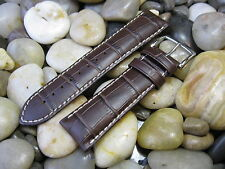 24 mm Hirsch Modena Brown Alligator Embossed Genuine Leather Watch Band! strap
