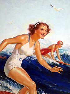 Sea wave surfer girl woman W. Soare Tile Mural Kitchen Backsplash Marble Ceramic