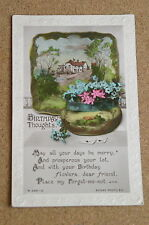 Vintage Postcard:Birthday Greetings, Country Scene, Tub of Flowers, Rotary