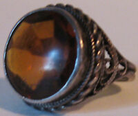 VINTAGE STERLING SILVER FACETED TOPAZ GLASS RING