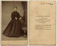 CIVIL WAR ERA LADY BY HILLIER, PHILADELPHIA, PA, ANTIQUE CDV