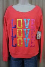"""Grane Juniors Sweater Sz M Fiery Coral Pink Embellished """"Love"""" Casual Sweater"""