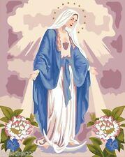 Framed Acrylic Paint by Number kit 50x40cm (20x16'') Virgin Mary DIY PBN LG7084