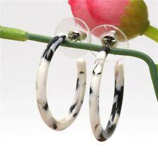 Stud Earrings 40mm Lp30 Lightweight Zebra Print Resin Hoop