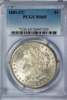 1881-CC Morgan PCGS MS65 Bright Silver Dollar Gem!