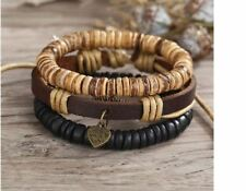 Made with Love Heart Charm Leather Style Adjustable Bracelet