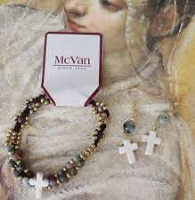 NEW Christian Cross Agate Bead MCVAN Bracelet w Handmade OOAK Earrings Set