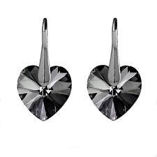 Pendientes de plata esterlina 925 Plata Corazón Amor cristales de Swarovski noche ®