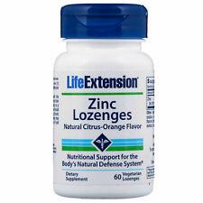 LifeExtension Zinc Lozenges Natural Citrus-Orange Flavor, 60 Vegetarian Lozenges